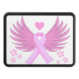 Breast Cancer Pink Wings With Ribbon Hitch Cover