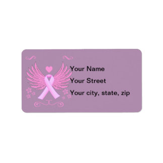 Breast Cancer Pink Wings With Ribbon Label