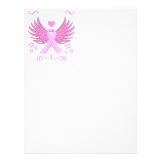 Breast Cancer Pink Wings With Ribbon Letterhead