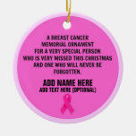 Breast Cancer Poem Memorial Ceramic Ornament