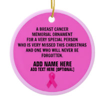 Breast Cancer Poem Memorial Ceramic Ornament