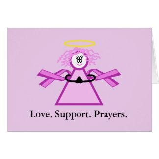 Breast Cancer Praying Pink Ribbon Angel Card