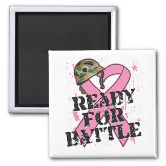 Breast Cancer Ready For Battle 2 Inch Square Magnet