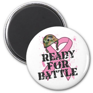 Breast Cancer Ready For Battle 2 Inch Round Magnet