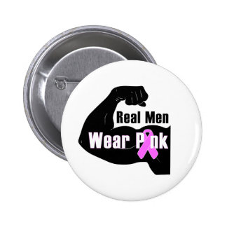 Breast Cancer Real Men Wear Pink Button