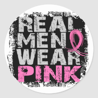 Breast Cancer Real Men Wear Pink Classic Round Sticker