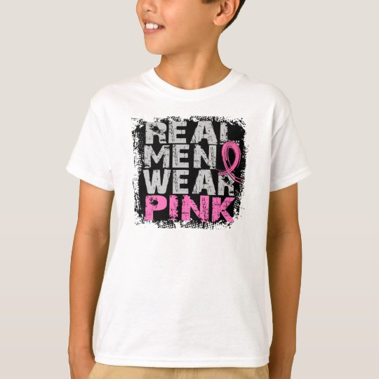 Breast cancer real men wear pink t shirt zazzle for Baby pink shirt for man