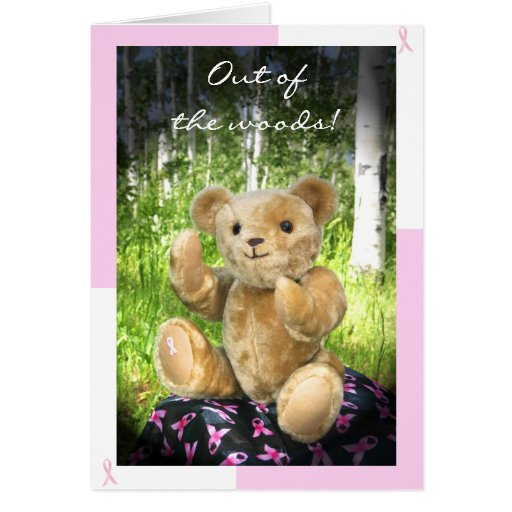 Breast Cancer Remission--Teddy Bear--Pink Ribbons Card