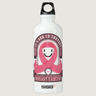 Breast Cancer - Retro Ribbon - Aluminum Water Bottle