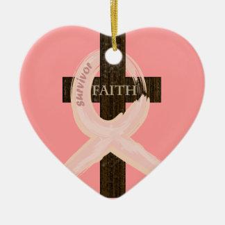 Breast Cancer Ribbon Celbrates Faith Remission Christmas Ornament