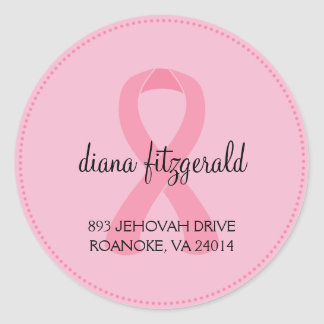 Breast Cancer Ribbon Custom Round Address Label