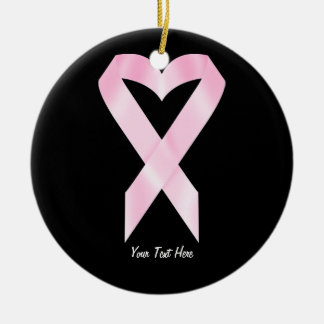 Breast Cancer Ribbon (customizable) Double-Sided Ceramic Round Christmas Ornament