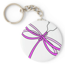 Breast Cancer Ribbon Dragonfly1 Keychain