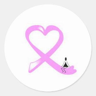 breast  cancer ribbon heart round sticker
