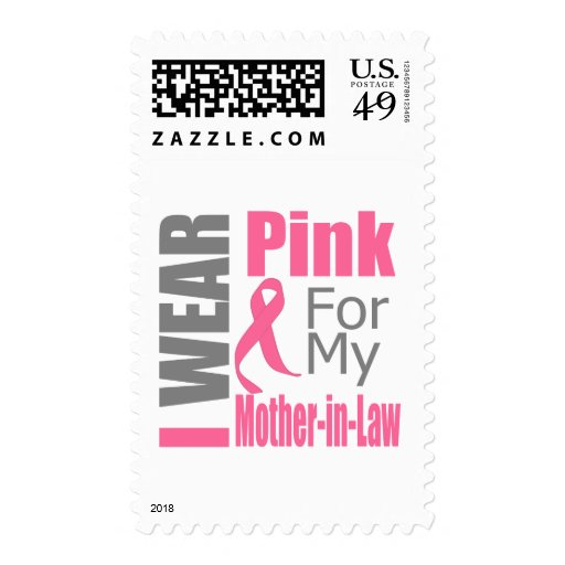 Breast Cancer Ribbon I Wear Pink Mother-in-Law Postage Stamps