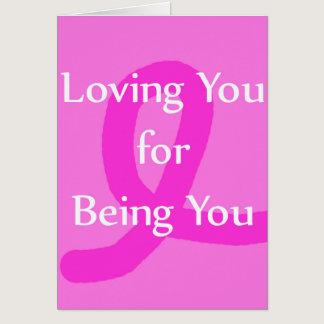 Breast Cancer Ribbon Loving You Blank Card