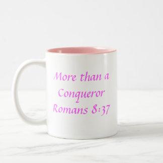 Breast Cancer Ribbon, More than a ConquerorRoma... Two-Tone Coffee Mug