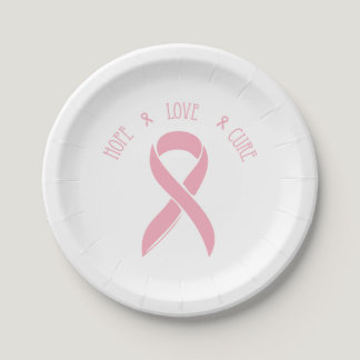 Breast Cancer Ribbon of Hope Paper Plate