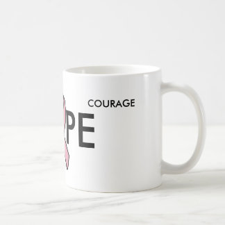 breast cancer ribbon transparent, HOPE, COURAGE... Coffee Mug