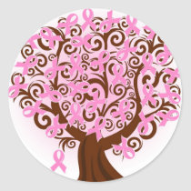 Breast Cancer Ribbon tree sticker
