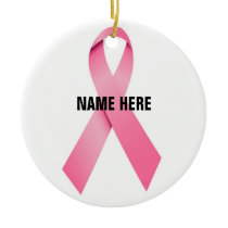 Breast Cancer Ribbon Tribute Ceramic Ornament