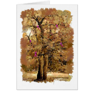 Breast cancer ribbons on a tree card