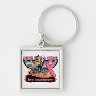 Breast Cancer Ride For a Cure Silver-Colored Square Keychain