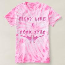 Breast Cancer Rock Star Ladies Tie-Dye T-Shirt