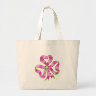 Breast Cancer Shamrock Ribbon Canvas Bags