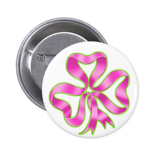 Breast Cancer Shamrock Ribbon Pinback Button