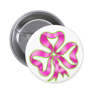 Breast Cancer Shamrock Ribbon Pinback Button