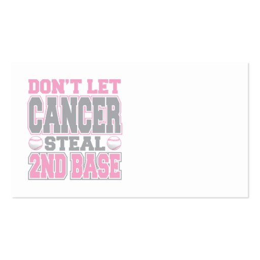 Breast Cancer Steal 2nd Base 2 Double-Sided Standard Business Cards (Pack Of 100)
