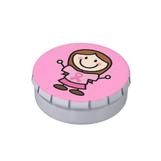 Breast Cancer Stick Lady Pink Awareness Ribbon Jelly Belly Tin