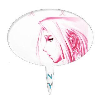 Breast Cancer Sucks Sad Anime Face Cake Topper