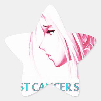 Breast Cancer Sucks Sad Anime Face Star Sticker