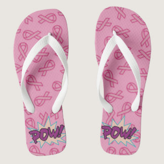 Breast Cancer Super Hero Flip Flops