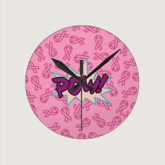 Breast Cancer Super Hero Round Clock