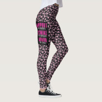 Breast Cancer Support Black Leggings YOUR NAME