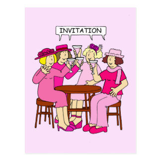 Breast Cancer Support Ladies in pink, Invitation. Postcard