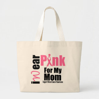 Breast Cancer Support Pink Ribbon Mom Large Tote Bag