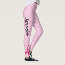Breast Cancer Support Ribbon Leggings YOUR NAME