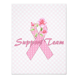 Breast Cancer Support Team 4.25x5.5 Paper Invitation Card