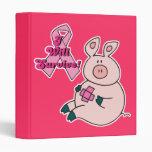 Breast Cancer Survive Awareness Pig 3 Ring Binder