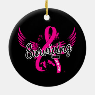 Breast Cancer Surviving Since 2015 Ceramic Ornament