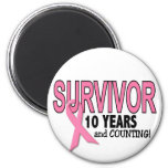 BREAST CANCER SURVIVOR 10 Years & Counting Fridge Magnets