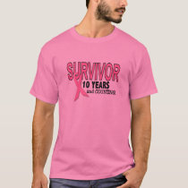 BREAST CANCER SURVIVOR 10 Years & Counting T-Shirt
