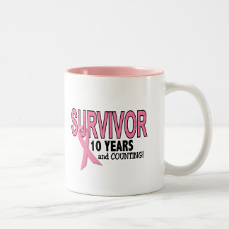 BREAST CANCER SURVIVOR 10 Years & Counting Two-Tone Coffee Mug