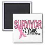 BREAST CANCER SURVIVOR 12 Years & Counting Refrigerator Magnets