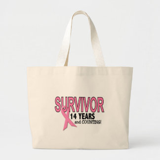 BREAST CANCER SURVIVOR 14 Years & Counting Large Tote Bag