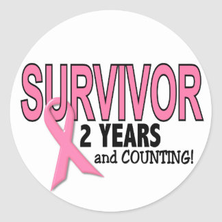 BREAST CANCER SURVIVOR 2 Years & Counting Classic Round Sticker